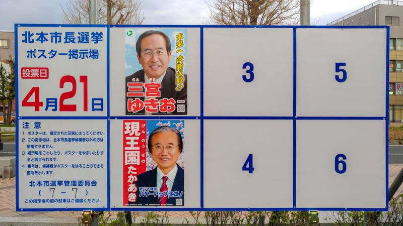 北本市長選挙 2019 ポスター掲示板